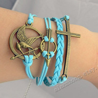 Antique bronze arrow,Cross& Hunger game currency Bracelet-Wax Cords and Leather Bracelet--Best Chosen Gift