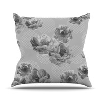 "Pellerina Design ""Lace Peony in Gray"" Grey Floral Throw Pillow"