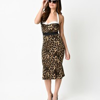 1950s Style Halter Leopard Scuba Knit Mermaid Wiggle Dress