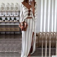 Fashion Casual Female Stripe Loose Long Sleeve Deep V Backless Crop Top Irregular Hem Split Long Skirt Set Two-Piece