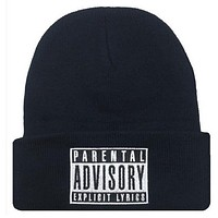 PARENTAL ADVISORY EXPLICIT LYRICS Beanie Wool Knitted Winter Womens & Mens Black Cuffed Skully Hat