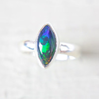 Black Opal Ring Sterling Silver Natural Ethiopian Welo Opal Ring Size 6-7 Silversmithed October Birthstone Ring