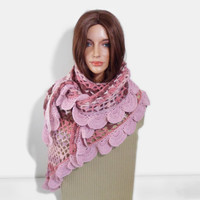 Crochet Shawl, Handmade Triangle Shawl, Winter Accessory in Pink