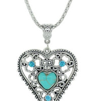 Heart Faux Turquoise Necklace