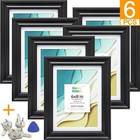 6x8 Picture Frames with 5x7 Mat, Set of 6