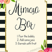 INSTANT DOWNLOAD Mimosa bar sign / Bubbly Bar sign / drink sign / champagne sign / drink table sign / bar sign / bachelorette sign