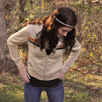Retro 1970s 1980s Jacket Tan w/ Orange and Brown Chest by SewRed