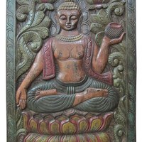 Beautiful Hand Carved Wall Panel Earth Touching Buddha Door India