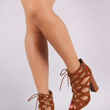 Bamboo Suede Cutout Lace-Up Chunky Heel