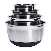 Tabletops Unlimited 4-Piece Stainless Steel Mixing Bowl Set with Silicone Base