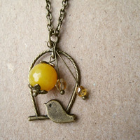 Sun Bird Necklace Sunny Yellow Brass Charm by PiggleAndPop on Etsy