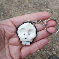 Key chain 3D skull fashion spooky polymer clay geekery hand made gag gift funny humor for her him birthday christmas