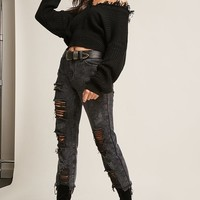 Ribbed Knit Distressed Sweater