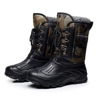 Men Outdoor Waterproof Snow Boots Fishing Shoes Ski Boots Snow Walking Shoes