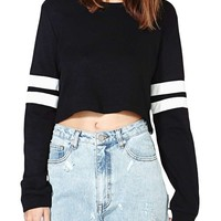 Inlscp Women's Long Sleeves Striped Splice Cropped Top Rib Pullover Hoodie