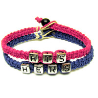 Bracelets for Couples, His Hers, Dark Pink and Dark Blue, Hemp Jewelry, Made to Order