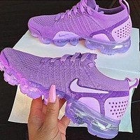Nike Air Vapormax flyknit Fashion New Hook Print Shoes Women Purple