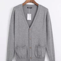 Long Sleeve V-neck Double Pockets Knit Cardigan