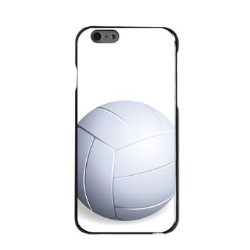 DistinctInk® Hard Plastic Snap-On Case for Apple iPhone - White Volleyball
