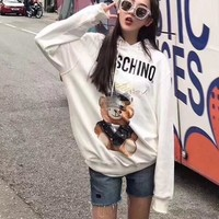 """Moschino"" Women Casual Cute Cartoon Bear Letter Print  Long Sleeve Pullover Sweater Hoodie Tops"