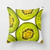 Kiwi Fruit Throw Pillow by Bruce Stanfield   Society6