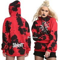 Licensed cool Slipknot Band Goat Logo Tie Dye Pull Over Hoodie Juniors Black Red JRS M L NWT