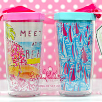 LILLY PULITZER: Insulated Tumbler Set with Lid - Meet Me at the Beach/Red Right Return