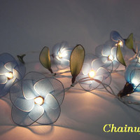 20 BLUE FLOWER STRING PARTY,PATIO,FAIRY,DECOR,HOME,OFFICE,BEDROOM WEDDING LIGHTS