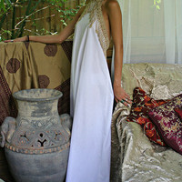 Bohemian White Cotton Backless Nightgown