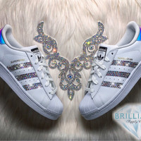 Adidas Superstar Womens/Girls Shoes White Metallic Stripes Customized with AB Swarovski Crystals Brand New in Box Authentic Adidas Superstar