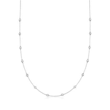 Ross-Simons 0.50-1.00 ct. t.w. Bezel-Set Diamond Station Necklace in 14kt White Gold 36.0 Inches