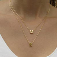 Personalized Necklace, Goldfilled Initial Necklace, Gold Letter Necklace, Gold Necklace, Bridesmaid Gift, Layers Necklace, Initial jewelry
