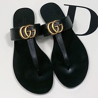 GG Woman Men Fashion Slippers Sandals Flat Shoes Gold