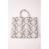 Marci Large Tote, Grey Snake