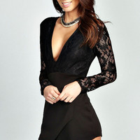 Long Lace Sleeves Black Romper with Plunging V-Neckline