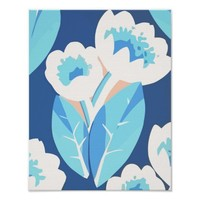 Blue Tulip Flowers Abstract Digital Art Poster