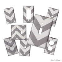 Chevron Switch/Outlet Cover Plate - Your choice of color (Grey, Black, Red, Yellow, Turquoise, Green) and White