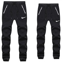 NIKE Popular Women Men Leisure Print Sport Pants Trousers Sweatpants Black I