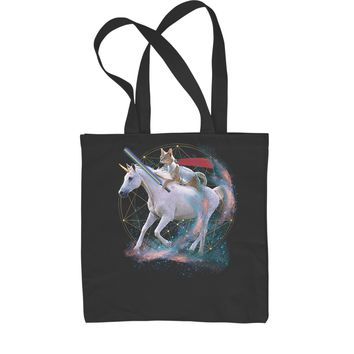 Cat Riding A Unicorn Shopping Tote Bag