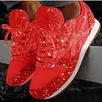 Popular new sequined casual shoes for women breathable water drill oversize platform sneakers