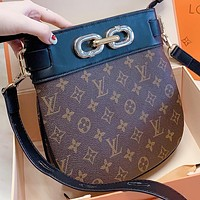 LV New Fashion Monogram Print Leather Shoulder Bag Crossbody Bag