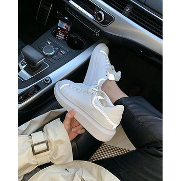 Alexander Mcqueen 19ss 3M Reflective Thick-soled Shoes Small White Shoes-5
