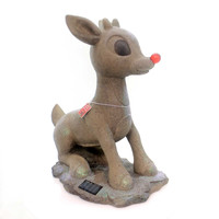 Christmas SOLAR POWERED RUDOLPH Polyresin Red Nosed Reindeer 38207