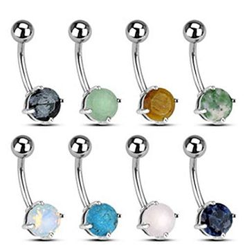316L Surgical Steel WildKlass Navel Rings with Prong set Semi-Precious Stones 160pc Pack (20pcs x 8 colors)