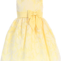 Girls Yellow Satin & Floral Burnout Organza Dress 3m-10