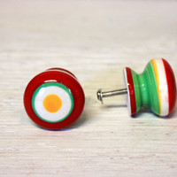 red green yellow and white ceramic knob // drawer cabinet pull  // round rings stripes