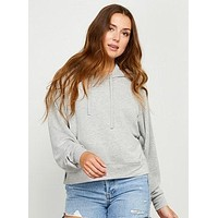 Terry Hooded Sweatshirt, Light Gray