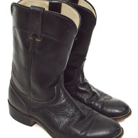 Vintage 80s Laredo Black Motorcycle Riding Leather Boots Sz 9D