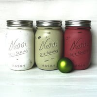 Christmas / Winter Home Decor - Vase - Painted and Distressed Mason Jars - White, Red, Green Pint