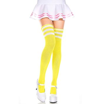 Yellow and White 3 Stripe Thigh High Socks